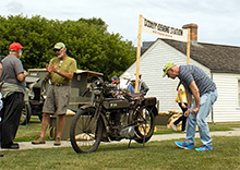 Vintage 1917 Triumph Model H Motorcycle at Fort York. Photo by Claudia Gaboury